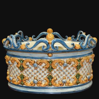 Cassetta ovale c/ghirigori 31x20 plastico sofia tricolore - Ceramiche di Caltagirone Sofia