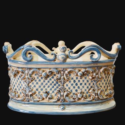 Cassetta ovale c/ghirigori 31x20 plastico sofia mono blu - Ceramiche di Caltagirone Sofia