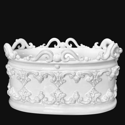 Cassetta ovale c/ghirigori 31x20 plastico sofia white line - Ceramiche di Caltagirone Sofia