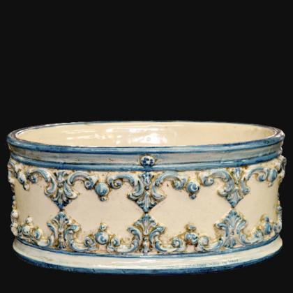 Fioriera ovale s/ghirigori 31x15  plastico Sofia mono blu - Ceramiche di Caltagirone Sofia