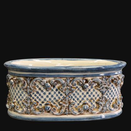 Fioriera ovale s/ghirigori c/retinato 31x15 plastico Sofia mono blu - Ceramiche di Caltagirone Sofia
