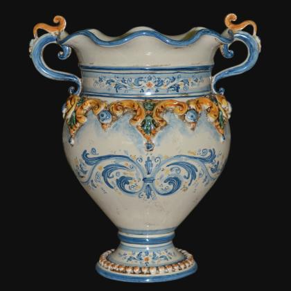 Vaso Smerlato con Decoro Plastico Tricolore - Ceramiche di caltagirone Sofia