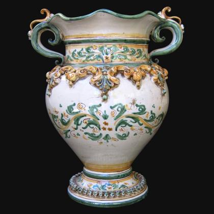 Ceramic Vase handmade products green and orange. Artistic ceramics of Caltagirone Sofia