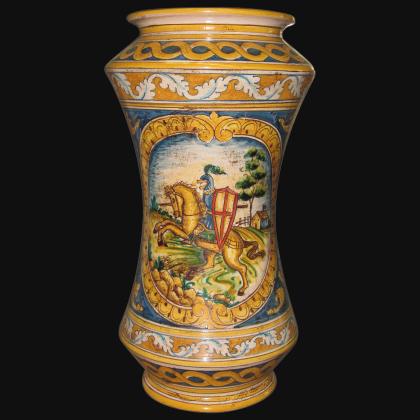 Vaso albarello h 25/30 ornato calatino c/cavaliere - Ceramiche di Caltagirone Sofia