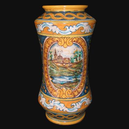 Vaso albarello h 25/30 ornato calatino c/paesaggio - Ceramiche di Caltagirone Sofia