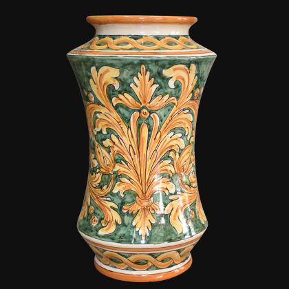 Vaso albarello h 25/30 ornato fondo verde - Ceramiche di Caltagirone Sofia