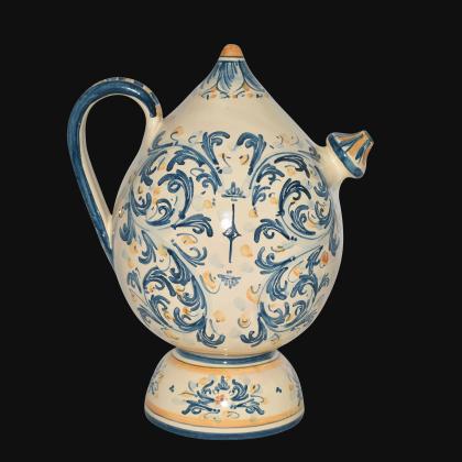 Bummulu Malandrinu h 25 s. d'arte blu/arancio in ceramica di Caltagirone