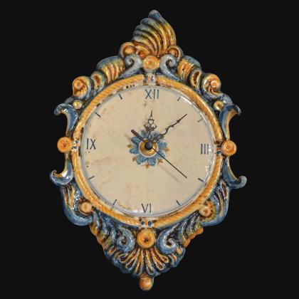 Orologio a rilievo 2°M h 40 blu e arancio in Ceramica artistica di Caltagirone