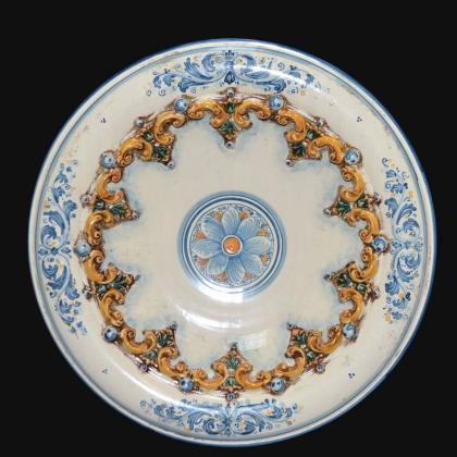 Piatto ornamentale Ø 30 o 40 cm plast Sofia tricolore in ceramica artistica di Caltagirone