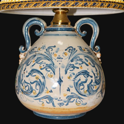 Lume comodino mod.Pe h 30 in blu e arancio - Ceramiche di Caltagirone Sofia