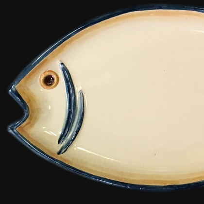 Ceramic fish pockets 30x15 blue and orange