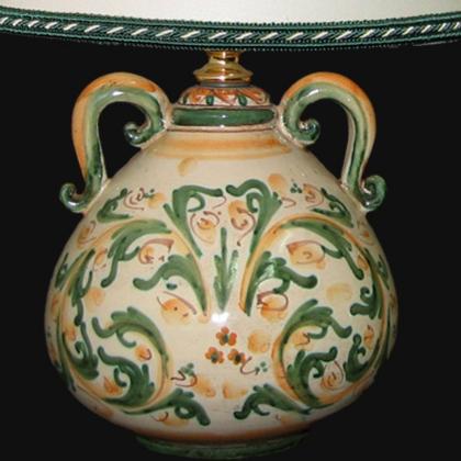 Lume comodino mod.Pe h 30 in cerde e arancio - Ceramiche di Caltagirone Sofia