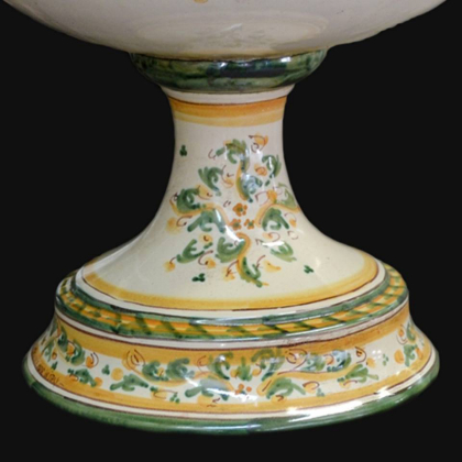Centrotavola Serie d'arte in Verde e Arancio in ceramica artigianale di Caltagirone