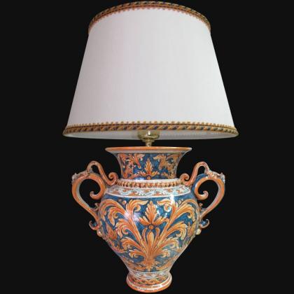 Lume Ornamentale in ceramica di Caltagirone Ornato Fondi Blu