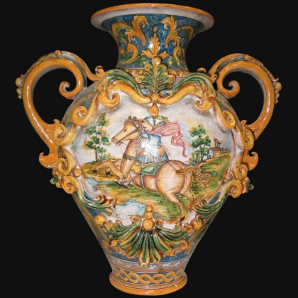 Vaso anfora h 40 c/greca rilievo ornato calatino - Ceramica di Caltagirone Sofia