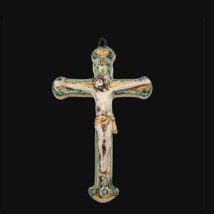 Crucifix cm 16x24 green and orange