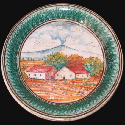 Sicilian Fangotto - Wall plate in artistic ceramic of Caltagirone