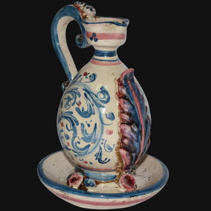 Oil Lamp s. d'arte blu/bordeaux - lamps in ceramics of Caltagirone