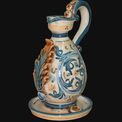Portacandela in s. d'arte blu/arancio - Lucerna in ceramica di Caltagirone
