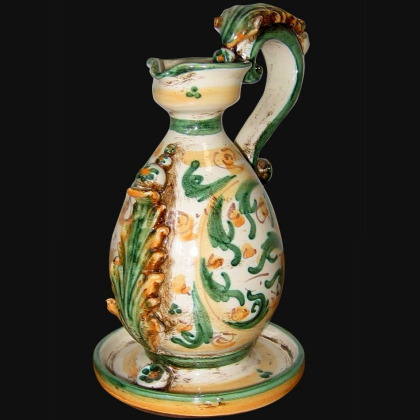 Portacandela in s. d'arte verde/arancio - Lucerna in ceramica di Caltagirone