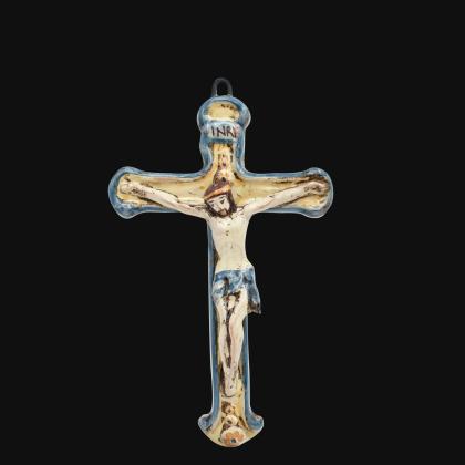 Crucifix cm 16x24 blue and orange