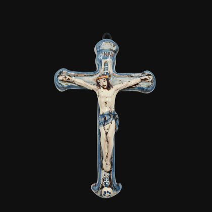Crucifix cm 16x24 mono blue