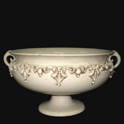 Alzata in ceramica d. 30/40 plastico sofia avorio - Ceramiche artistiche di Caltagirone