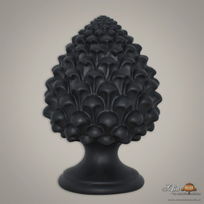 Caltagirone handmade pinecone modeled by hand height 15/35 in Black