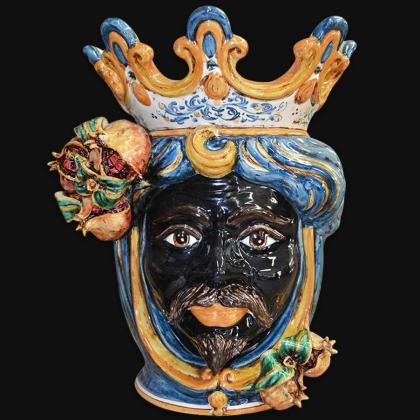 Ceramic Head with pomegranate h 40 blu/orange male