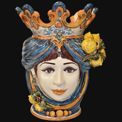 copy of Ceramic Head with lemons h 40 blu/orange male