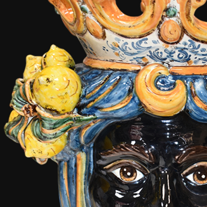 Ceramic Head with lemons h 40 blu/orange male