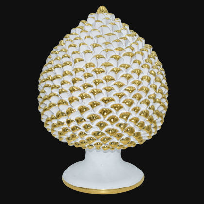 Hand-modeled pinecone from Caltagirone with pure gold, height 30 white gold