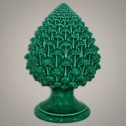 Caltagirone handmade pinecone modeled by hand height 15/35 Green