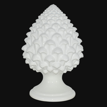 Caltagirone handmade pinecone modeled by hand height 15/35 Ivory Line