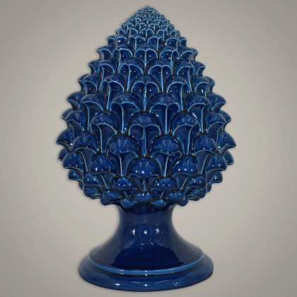 Caltagirone handmade pinecone modeled by hand height 15/35 Blue