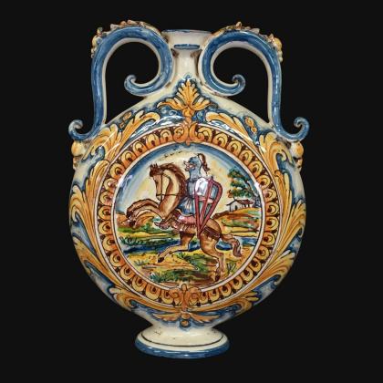 Fiasca a ciambella 23x32 c/cavaliere antiche riproduzioni di caltagirone