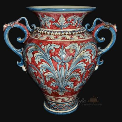 Vaso anfora h 40 ornato blu/bordeaux - Ceramiche di caltagirone Sofia