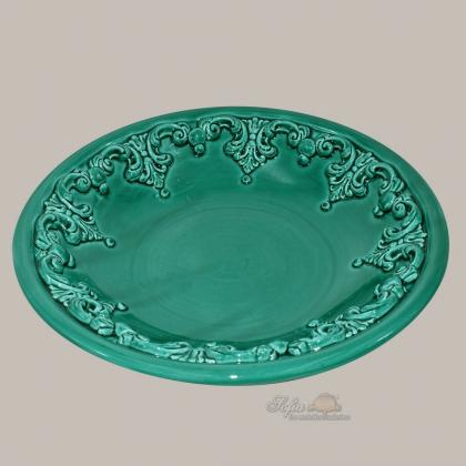 Ornamental plate Ø 30 cm emerald green modern ceramic of Caltagirone