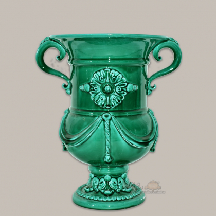 Monumental vase h 31 emerald green