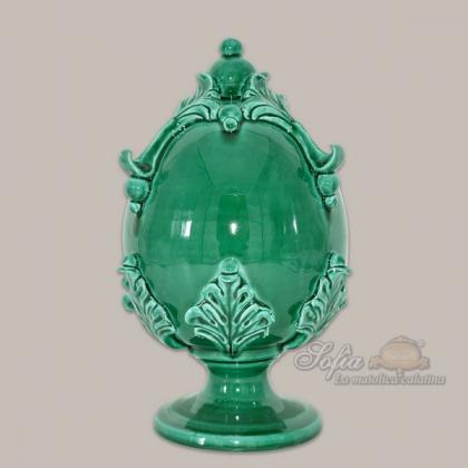 Egg h 25 emerald green - Caltagirone ceramics