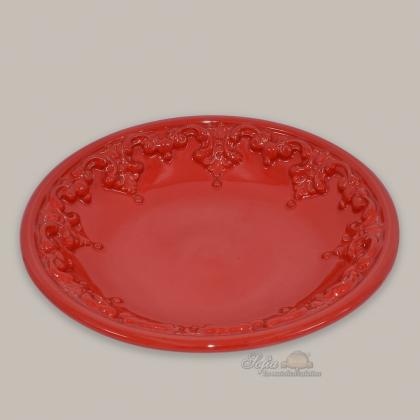 Ornamental plate Ø 30 cm fire red in modern ceramic of Caltagirone