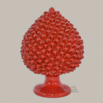Caltagirone handmade pinecone modeled by hand height 25/40 in integral red