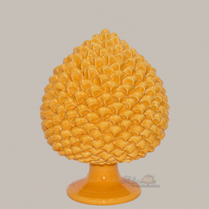 Caltagirone handmade pinecone modeled by hand height 25/40 green/orange