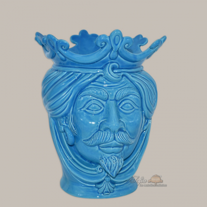 Modern Head h 25 turchese man - Modern Moorish heads Sofia Ceramiche