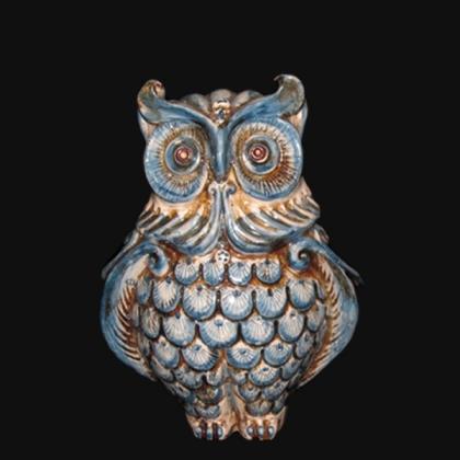 Gufo h 20 monocromia di blu - Animali in ceramica