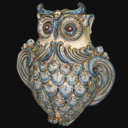 Gufo h 30 monocromia di blu - Animali in ceramica