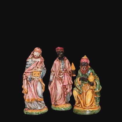 Set re magi 3 pezzi h 20 tricolore - Presepe di Caltagirone
