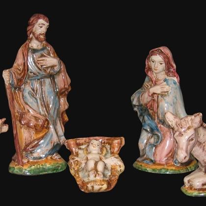 Set natività 5 pezzi h 20 tricolore - Presepi di Caltagirone