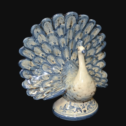 Pavone in ceramica mono blu - Ceramiche di Caltagirone Sofia