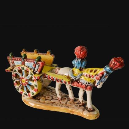 Carretto Siciliano medio in Ceramica tricolore - Ceramiche di Caltagirone Sofia